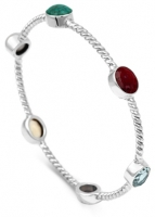AC15- Sterling Silver Twisted Turquoise,Ruby, Blue Topaz, Amethyst, Citrine and Pearl Arm Candy Bangle
