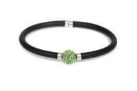 WB62600 Black leather bracelet with peridot crystal