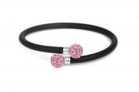 B62620 Black leather bracelet with baby pink crystal and steel fitting copy 2.jpg