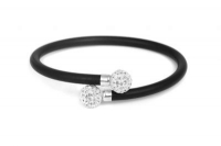 WB62620 Black leather bracelet withwhite crystal and steel fittin