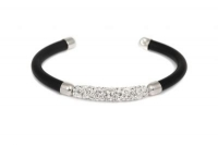 WB6600 Black leather bracelet with white crystal and steel fittin