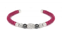 B6602 Hot pink leather bracelet with white crystal and steel fitting.jpg