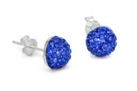 EC010 SAPPHIRE BLUE HALF CRYSTAL EARRINGS