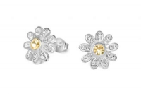 EF010 10mm Yellow crystal flower earrings with silver fittings.jpg