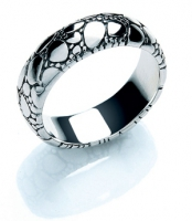 Guild Hall - oxidised sterling silver ring with pebbled textured design