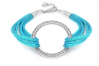 401200 1 Sterling Silver and Aqua Cord Large Circle cz Bracelet