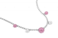 NLC0080 Baby pink and white 42cm necklace with extension chain.jpg
