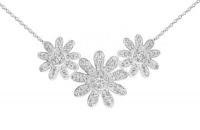 PF027 Silver necklace with 20mm and 15mm white crystal flowers 42cm chain with tail clasp.jpg