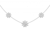 PF029 15mm and 12mm white crystal flower necklace with gaps at the front and silver fittings 42cm chain with tail clasp.jpg
