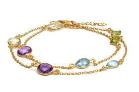 BNK629 Gold Plated Double Bracelet or Choker with Real Amethyst, Blue Topaz, Citrine and Peridott