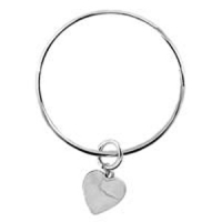A1 TBL443 Sterling Silver Bangle with Solid Heart Charm