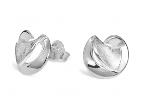 Sterling silver polished and matt 12mm stud earrings