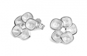 Sterling silver matt finished 15mm stud earrings